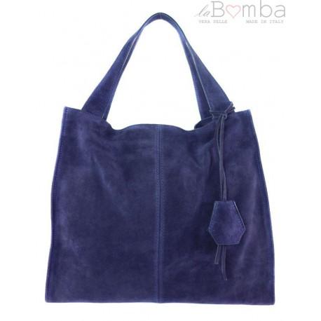 a9536cb7c09af Duża zamszowa torba XXL Shopper bag ,worek Vera Pelle pojemny Granatowy  WK799BS