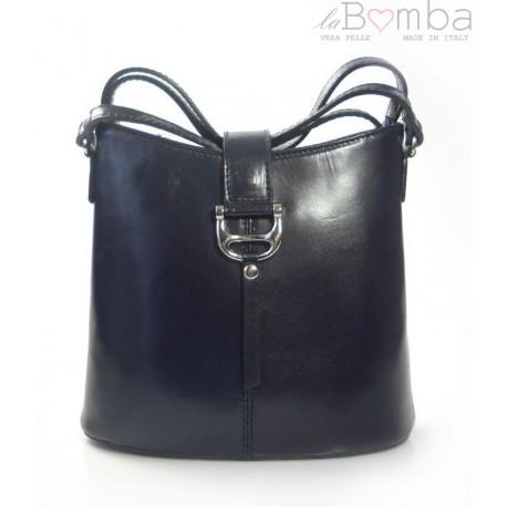 Skórzana torebka listonoszka Vera Pelle Granatowa L22BS