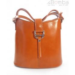 Skórzana torebka listonoszka Vera Pelle Camel L22C