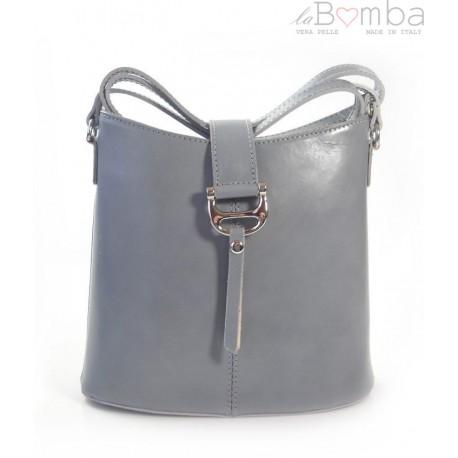 Skórzana torebka listonoszka Vera Pelle Szara jasna L22G2