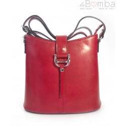 Skórzana torebka listonoszka Vera Pelle Czerwona L22R