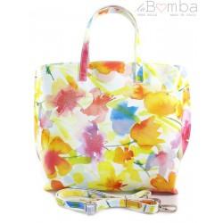Włoska torba A4 Shopper Bag Vera Pelle Kwiaty SB689K2