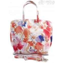 Włoska torba A4 Shopper Bag Vera Pelle Kwiaty SB689K3