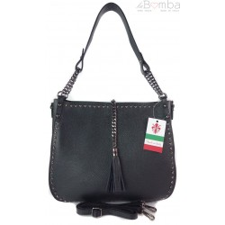 Shopper Bag dżety łańcuch frędzel duża pojemna torba na ramię czarna SB945N