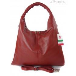 Duży skórzany worek torba XXL Vera Pelle pojemny Bordowa WX435B
