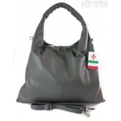 Duży skórzany worek torba XXL Vera Pelle pojemny Szary WX435G