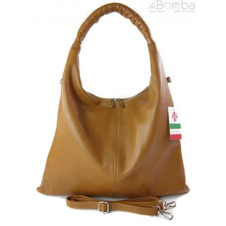 Duży skórzany worek torba XXL Vera Pelle pojemny Camel WX435C