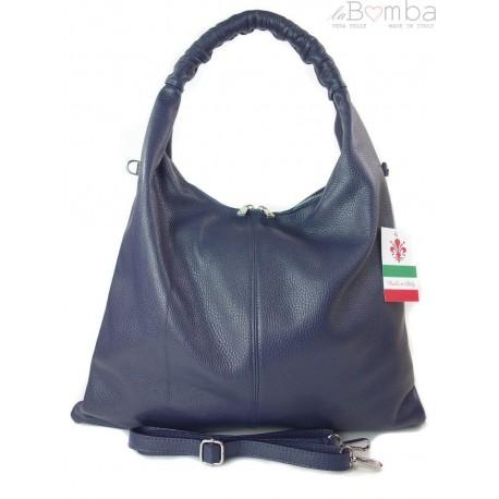 Duży skórzany worek torba XXL Vera Pelle pojemny Granatowy WX435BS