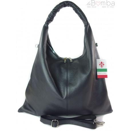 Duży skórzany worek torba XXL Vera Pelle pojemny Czarny WX435N