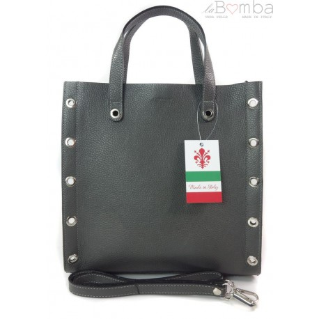 Skórzana torba do ręki ,kółka dżety, Vera Pelle Szara SB369G