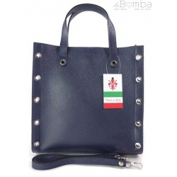 Skórzana torba do ręki ,kółka dżety, Vera Pelle Granatowa SB369BS