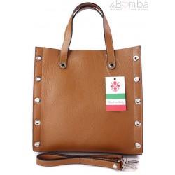 Skórzana torba do ręki ,kółka dżety, Vera Pelle Camel SB369C