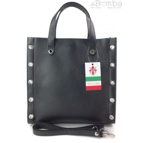 Skórzana torba do ręki ,kółka dżety, Vera Pelle Czarna SB369N