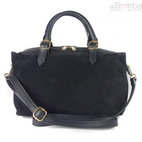 Włoski zamszowy kuferek Vera Pelle , złote okucia Czarny KVEN24N