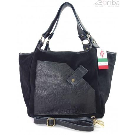 Zamszowa torba Shopper bag ,worek kieszeń Vera Pelle pojemny Czarny WK567N