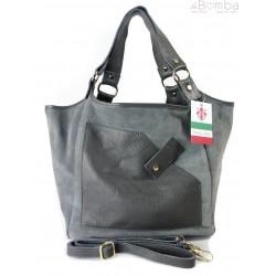 Zamszowa torba Shopper bag ,worek kieszeń Vera Pelle pojemny Szary WK567G