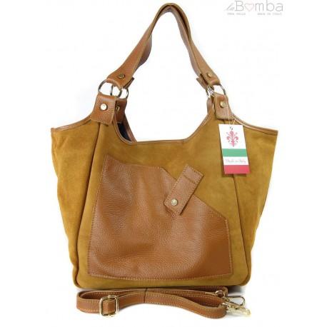 Zamszowa torba Shopper bag ,worek kieszeń Vera Pelle pojemny Camel WK567C