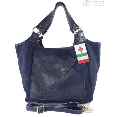 Zamszowa torba Shopper bag ,worek kieszeń Vera Pelle pojemny Granatowa WK567BS