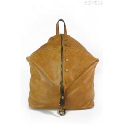 Włoski plecak , worek Vera Pelle,patynowe okucia,pojemny A4 camel W642C