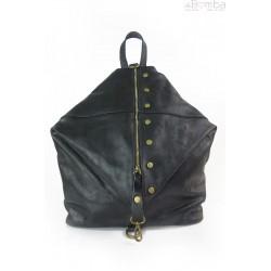 Włoski plecak , worek Vera Pelle,patynowe okucia,pojemny A4 czarny W642N