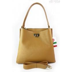 Włoska torebka na ramię ,pojemna ,przegrody,złote okucia ,camel jasna V375C