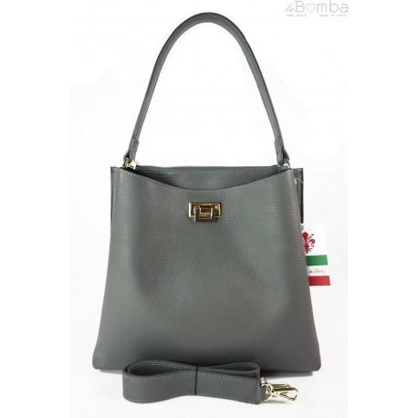 Włoska torebka na ramię ,pojemna ,przegrody,złote okucia ,szara grafit V375G1