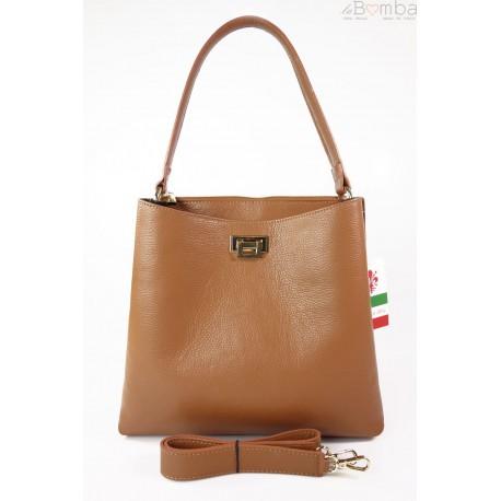 Włoska torebka na ramię ,pojemna ,przegrody,złote okucia ,ciemny camel V375C2