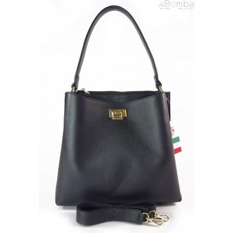 Włoska torebka na ramię ,pojemna ,przegrody,złote okucia ,czarna V375N