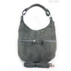Klasyczny worek na ramię ,zamki suwaki XL A4 Shopper bag zamsz naturalny szara W345G