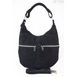 Klasyczny worek na ramię ,zamki suwaki XL A4 Shopper bag zamsz naturalny czarny W345N